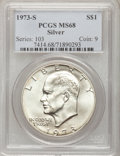 Eisenhower Dollars: , 1973-S $1 Silver MS68 PCGS. PCGS Population (771/2). NGC Census: (94/1). Mintage: 869,400. Numismedia Wsl. Price for proble...