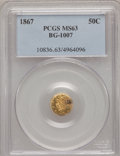 California Fractional Gold: , 1867 50C Liberty Round 50 Cents, BG-1007, High R.4, MS63 PCGS. PCGSPopulation (11/20). NGC Census: (0/1). (#10836)...