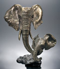 Natural History Art:Sculptures, ELEPHANT PAIR BRONZE. ...