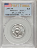 Modern Bullion Coins, 2006-W $25 Platinum MS70 PCGS. First Strike. PCGS Population (234).NGC Census: (0). Numismedia Wsl. Price for problem fre...