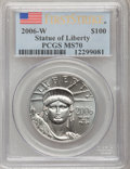 Modern Bullion Coins, 2006-W $100 Platinum MS70 PCGS. First Strike. PCGS Population(393). NGC Census: (0). Numismedia Wsl. Price for problem fr...