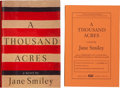 Books:First Editions, Jane Smiley. A Thousand Acres. Two signed editions,including: Uncorrected Proof. New York: Knopf, 1991. Publish...(Total: 2 Items)