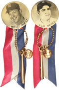 Baseball Collectibles:Pins, 1950's Vintage Yogi Berra & Mickey Mantle Pinback Pair (2) WithRibbons and Charms. ...