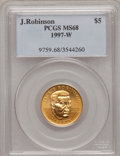Modern Issues: , 1997-W G$5 Jackie Robinson Gold Five Dollar MS68 PCGS. PCGSPopulation (31/768). NGC Census: (6/556). Mintage: 5,202. Numis...