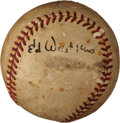 Baseball Collectibles:Balls, Ed Waitkus Single Signed Baseball....