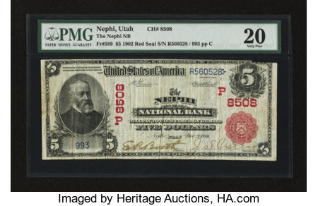 Nephi, UT - $5 1902 Red Seal Fr. 589 The Nephi NB Ch. # (P)8508 ...