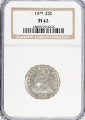 Proof Seated Quarters: , 1879 25C PR62 NGC. NGC Census: (22/211). PCGS Population (52/194).Mintage: 1,100. Numismedia Wsl. Price for problem free N...