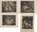 Antiques:Posters & Prints, Four Beautiful Nineteenth-Century Illustrations Engraved From Works by European Artists. 9.5 inches x 12.25 inches. Paper ha... (Total: 4 Items)