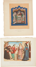 Antiques:Posters & Prints, Six 1858 Chromolithograph Illustrations of European Clothing StylesFrom 1100-1500.... (Total: 6 Items)