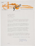 Baseball Collectibles:Others, 1958 Alex Pompez Signed Letter....