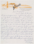 Baseball Collectibles:Others, Alex Pompez Handwritten Signed Letter....