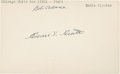 Baseball Collectibles:Others, Ed Cicotte Signed Index Card....