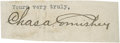Baseball Collectibles:Others, Charles Comiskey Signed Cut Signature....