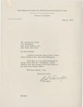 Baseball Collectibles:Others, 1953 William Harridge Signed Letter....