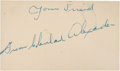 Baseball Collectibles:Others, Grover Cleveland Alexander Signed Index Card....