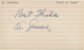 Baseball Collectibles:Others, Al Simmons Signed Index Card....