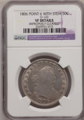 Early Half Dollars: , 1806 50C Pointed 6, Stem--Improperly Cleaned--NGC Details. VF.O-120. NGC Census: (59/1150). PCGS Population (70/638). Min...