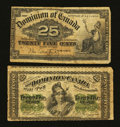 Canadian Currency: , Two Canadian Shinplasters.. ... (Total: 2 notes)
