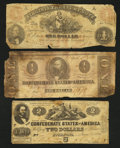 Confederate Notes:1862 Issues, Two CSA and One Virginia Obsolete Very Good.. ... (Total: 3 notes)