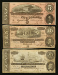 Confederate Notes:Group Lots, Three Different Denominations of Confederate Notes.. ... (Total: 3notes)