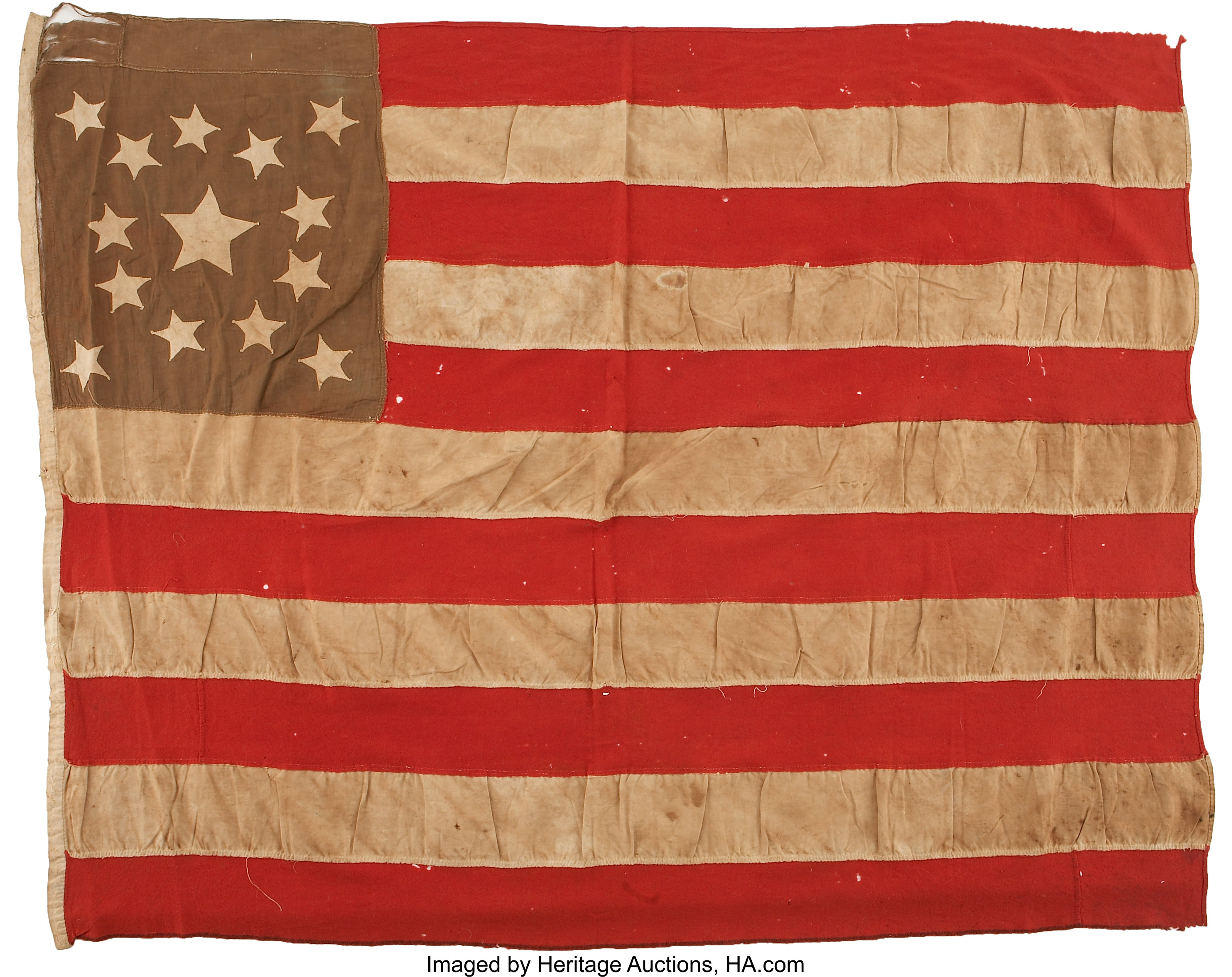 United States 14 Star Flag, Probably Secessionist-Used. ...   Lot ...