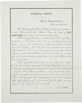 "Autographs:U.S. Presidents, [John Quincy Adams] Naval General Order Death Announcement. Twopages, printed on first page recto only 8"" x 10"", n.p., Febr..."