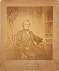 "Autographs:U.S. Presidents, Andrew Johnson Large Photograph Signed as president. This retouchedalbumen copy is 10"" x 11.5"" (12.5"" x 15.5"" matted). The ..."