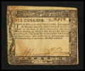 Colonial Notes:Maryland, Maryland August 14, 1776 $6 Very Fine.. ...