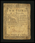 Colonial Notes:Continental Congress Issues, Continental Currency February 17, 1776 $2/3 Fine-Very Fine.. ...