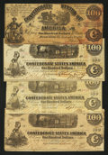 Confederate Notes:Group Lots, A Quartet of $100 Confederates. ... (Total: 4 notes)