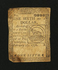 Colonial Notes:Continental Congress Issues, Continental Currency February 17, 1776 $1/6 Very Fine.. ...