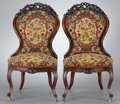 Furniture : English, A SET OF SIX VICTORIAN MAHOGANY SIDE CHAIRS . Probably London, England, circa 1860-1875. Unmarked. 39-1/4 inches high x 21-1... (Total: 6 Items)