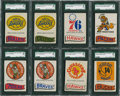 Basketball Cards:Lots, 1973-74 Topps Basketball Team Stickers SGC 96 MINT 9 Collection(8). ...