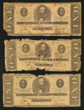 Confederate Notes:Group Lots, Mixed Lot of Confederate $1 Notes. Three Examples.. ... (Total: 3notes)