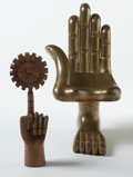 Latin American:Contemporary, PEDRO FRIEDEBERG (American/Mexican, b. 1937). GiltHand-Chair and Pointing Hand with Sun, circa 1993 (2).Gilt wood... (Total: 2 Items)
