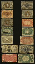 Fractional Currency:First Issue, Fourteen Shopworn Narrow Margin Specimens.... (Total: 14 notes)