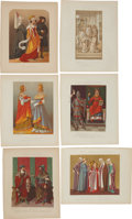 Antiques:Posters & Prints, Six French 1858 Chromolithograph Illustrations of European ClothingThrough the Centuries.... (Total: 6 Items)