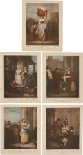 Antiques:Posters & Prints, Five Color Lithograph Illustrations by Francis Wheatley of 18thCentury London Street Scenes. 9.5 x 12 inches. From a later ...(Total: 5 Items)
