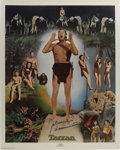 Movie/TV Memorabilia:Autographs and Signed Items, Johnny Weissmuller Autographed Lithographic Poster (NostalgiaMerchant, 1977). Olympic swimmer and movie star Johnny Weissmu...(Total: 1 Item)