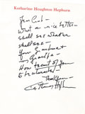 Movie/TV Memorabilia:Autographs and Signed Items, Katharine Hepburn Handwritten Note. A single-page handwritten notein black ink on personal stationery, undated, written and...(Total: 1 Item)