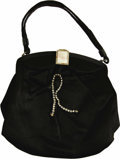"Movie/TV Memorabilia:Memorabilia, Rita Hayworth Owned and Personalized Evening Bag. Graced with arhinestone ""R"", this gorgeous black satin evening bag, from ...(Total: 1 Item)"