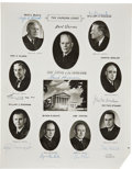 "Autographs:Statesmen, Warren Court Photograph Montage Signed by All Nine Supreme CourtJustices. B/w, 11"" x 14"", 1965. ""Harris & Ewing/Washingt..."