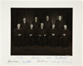 "Autographs:Statesmen, Warren Court Photograph Signed by All Nine Supreme Court Justices,ca. 1968. Large (14"" x 11"") and attractive b/w ph..."