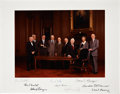"""Autographs:Statesmen, Burger Court Photograph Signed by All Nine Supreme Court Justices. Color, 18"""" x 14"""", featuring the Burger Court standing aro..."""