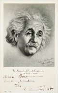 "Autographs:Inventors, Albert Einstein Signed and Inscribed Photo Postcard, 3.5"" x 5.5"". Ablack and white image of Einstein, to ""Herrn [Peter ...(Total: 2 Items)"