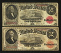 Large Size:Group Lots, A Pair of 1917 $2 Legals. ... (Total: 2 notes)