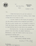 "Autographs:Non-American, Winston Churchill Typed Letter Signed. One page, 7.5"" x 9.5"",""The Casey Villa, Cairo"", December 5, 1943, to ""HisMaje... (Total: 2 Items)"