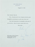 Autographs:U.S. Presidents, John F. Kennedy Typed Letter Signed as president with holographnotation. One page, on pale green White House letterhead, 6....