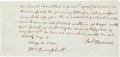 "Autographs:U.S. Presidents, James Monroe Autograph Letter Signed. One page, approximately 7"" x3.5"", n.p., May 10, 1790. As a young politician, Monroe j..."