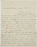 "Autographs:Celebrities, Pat Garrett Autograph Letter Signed. One page, 7.75"" x 9.75"",Uvalde, Texas, July 1, 1891. This enigmatic letter was written..."